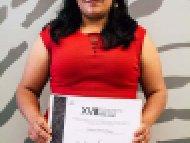 Margarita Torres Aragón, Tercer lugar, categoría Textiles de lana y Algodón confeccionados en telar